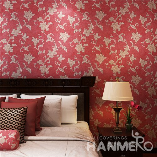 HANMERO Red Modern Embossed Floral PVC Bedroom Wallpaper