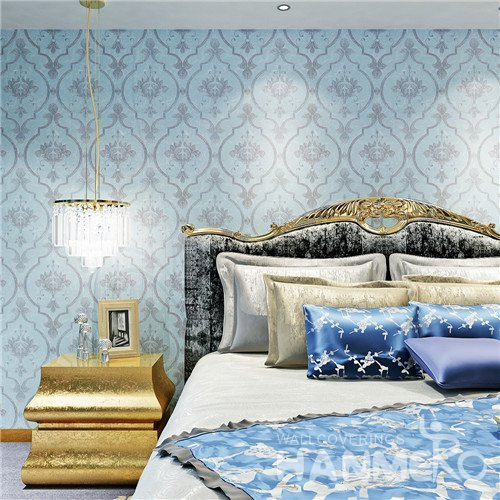 HANMERO European Sky Blue Vinyl Wallpaper for Bedding Room