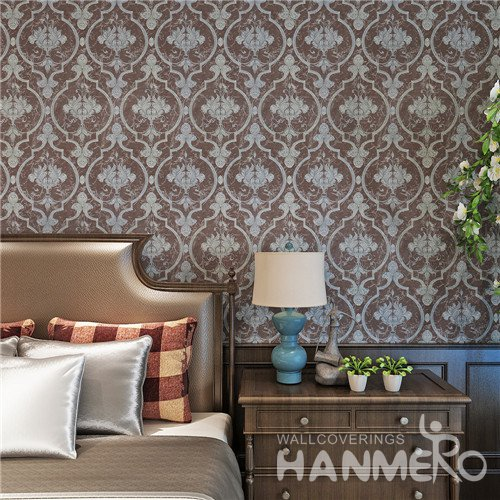 HANMERO Deep Brown Modern Removable Floral Vinyl Wallpaper For Bedroom