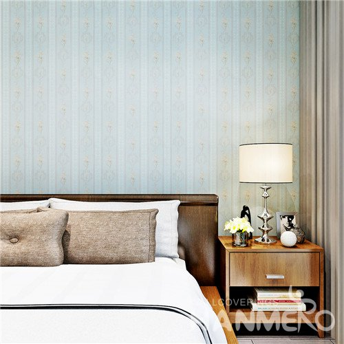 HANMERO Light Blue Simple Stripe And Floral Vinyl Coated Wallpaper