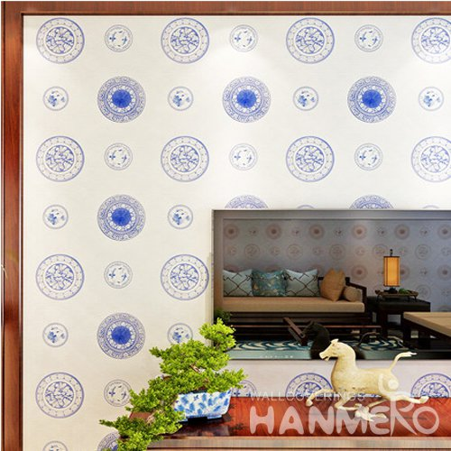 HANMERO Chinese Style Modern Royal Blue Modern Vinyl Wallpaper For Living Room