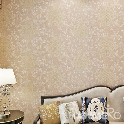 HANMERO Champagne Color European Floral High End PVC Wallpaper