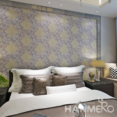 HANMERO European Gold Purple Floral PVC Decorative Wallpaper