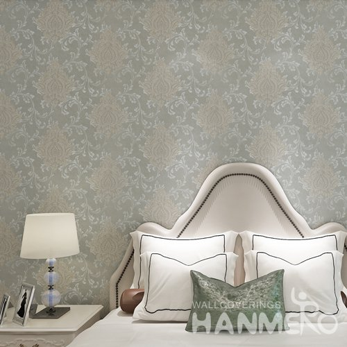 HANMERO Light Green Roll PVC Embossed Floral Wallpaper For Bedrooms