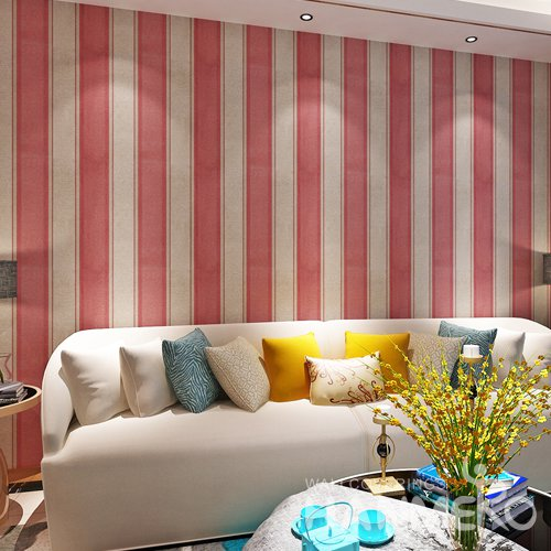 HANMERO Red And Gold Shiny PVC Embossed Home Wallpaper