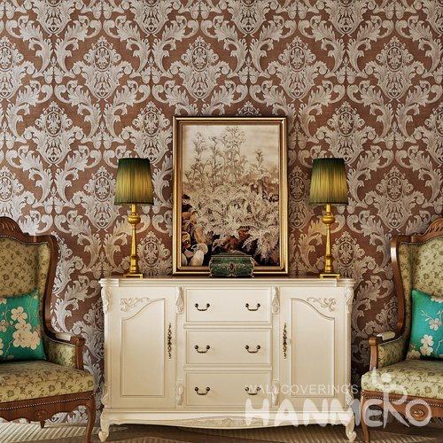 HANMERO European Brown Silver Floral Vinyl Embossed Decorative Wallpaper
