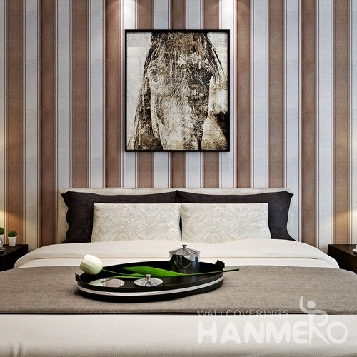 HANMERO Brown And Silver PVC Stripe Pattern Embossed Wallpape For Room