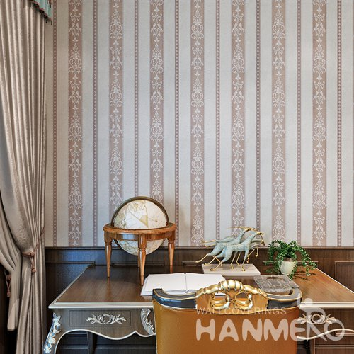 HANMERO Vinyl European Stripe And Floral Brown Living Room Bedroom Wallpaper