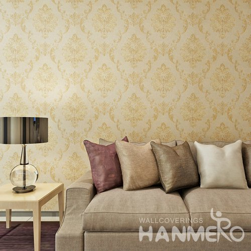HANMERO Luxury Gold Color Foral European PVC Embossed Wallpaper
