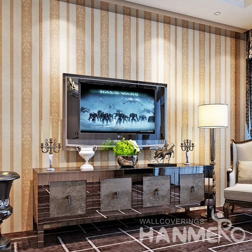 HANMERO European Stripe Flower Vinyl Embossed TV Background Home Wallpaper