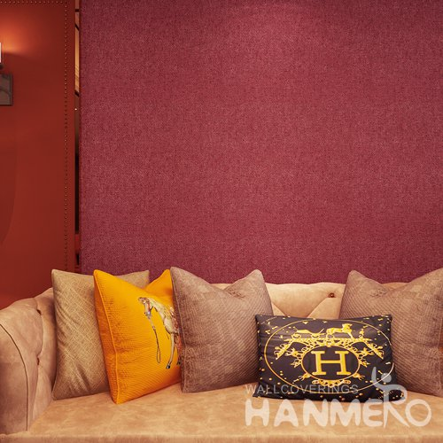 HANMERO Modern Wine Red Simple Decorative PVC Embossed Home Wallpaper