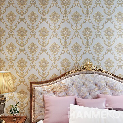HANMERO Gold And White European Vinyl Embossed Floral Wallpaper For Home Decoration