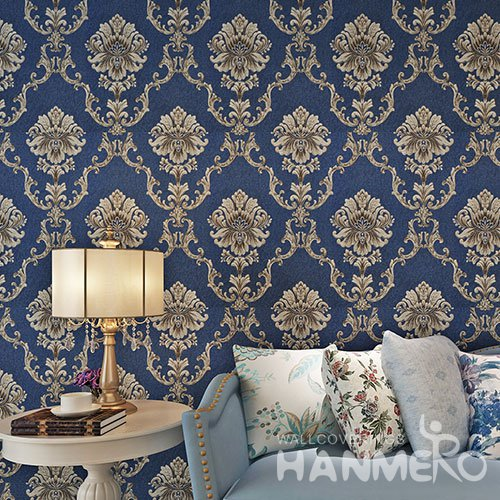 HANMERO Victoria Blue European Floral Bedding Room PVC Wallpaper Embossed