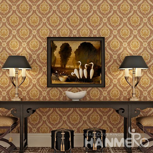 HANMERO Brown European Vinyl 0.53m Width PVC Wallpaper For Bedrooms
