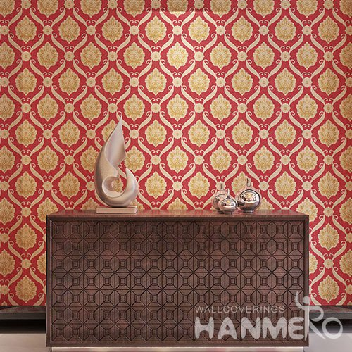 HANMERO Bright Red And Gold European Flower Designs Vinyl Embossed Wallpaper