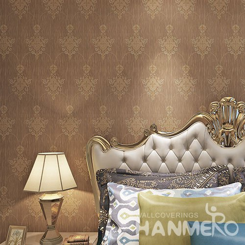 HANMERO Coffee Brown Wallpaper European Flower Embossed Vinyl Coated Wallpaper