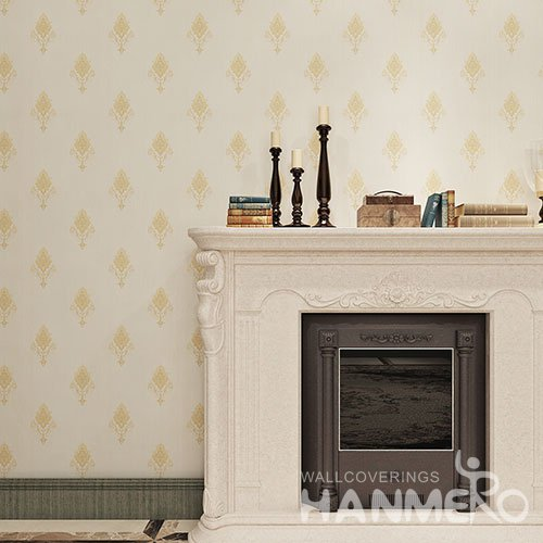 HANMERO Champagne Gold Floral European PVC Washable Bedroom Wallpaper