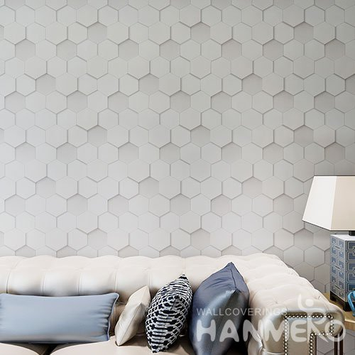 HANMERO Light Grey PVC 3D Geometric Wallpaper For House Room