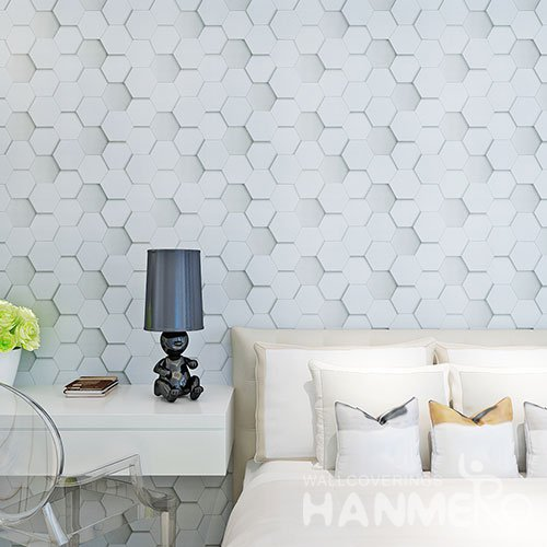HANMERO Modern 3D Geometric Vinyl Coated Embossed Wallpaper For Room