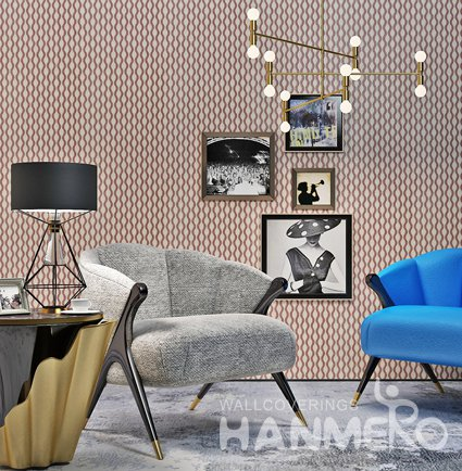 HANMERO Geometric 3D Wave Pattern Brown Wall Decoration PVC Wallpaper