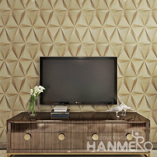 HANMERO Modern Geometric 3D Club PVC Embossed Wallpaper