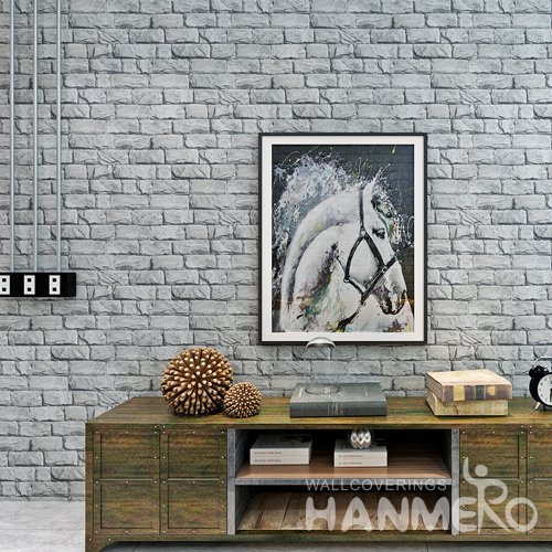 HANMERO Modern 3D Stereoscopic PVC Embossed Brick Wallpaper