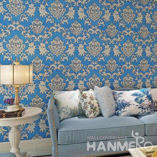 HANMERO Royal Blue European Golden Floral Vinyl Wallpaper With Embossed