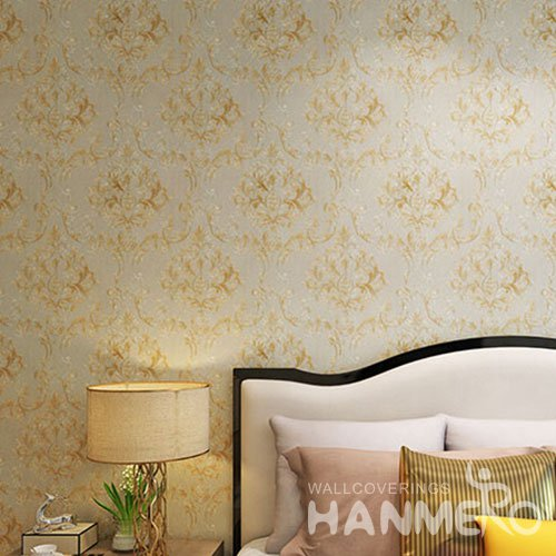 HANMERO Luxury Elegant Big Flowers PVC Embossed Eco friendly European Wallpaper