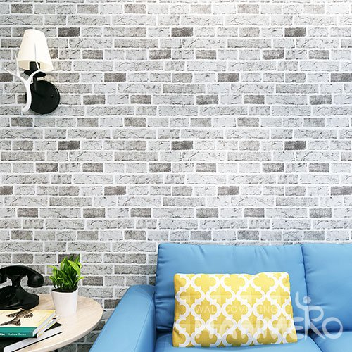 HANMERO Modern Fashion 3D Grey Brick Design PVC Wallpaper With Embossed