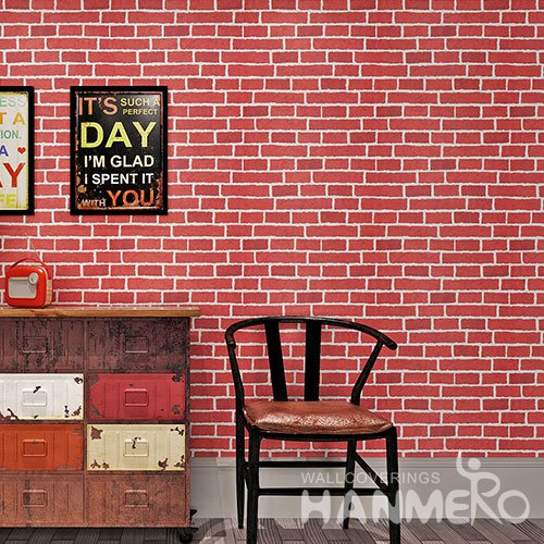 HANMERO Modern 3D Red Brick Waterproof PVC Wallpaper For Wall Decoration