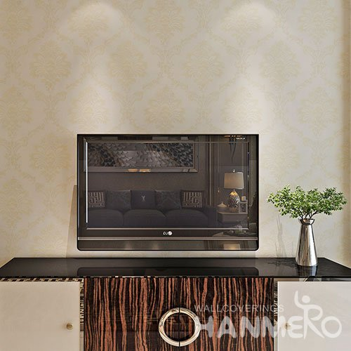 HANMERO Light Gold Floral European PVC Embossed Cheap Wallpaper