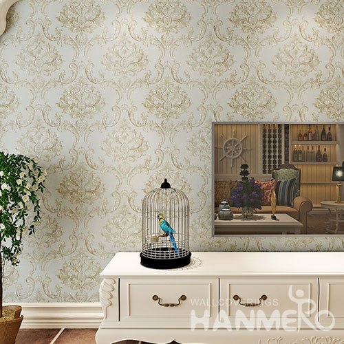 HANMERO European Gold Color PVC Embossed Wallpaper For Interior Room Decoration