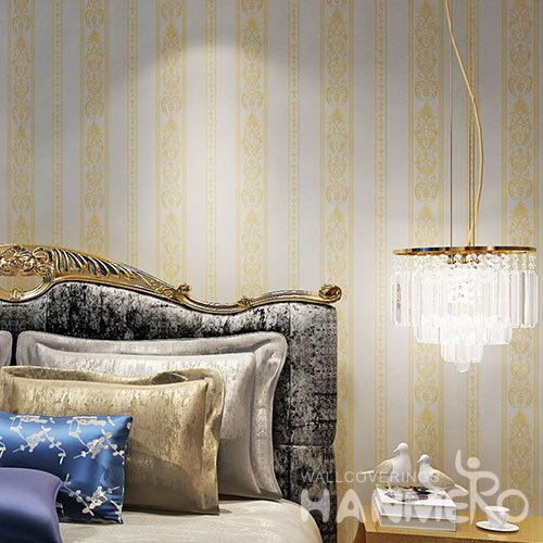 HANMERO SGS Assurance PVC European Stripe Embossed Living Room Wallpaper