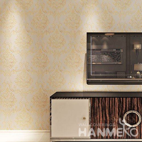 HANMERO European Floral PVC Gold Embossed Wallpaper For Bedroom