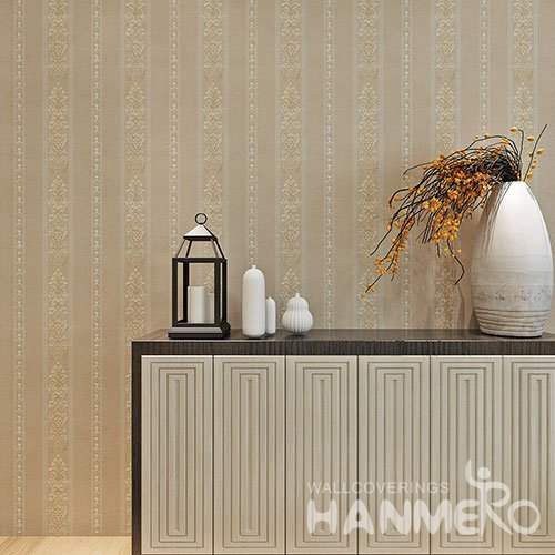 HANMERO Coffee Brown Flowers And Stripes Embossed PVC Bedroom Wallpaper
