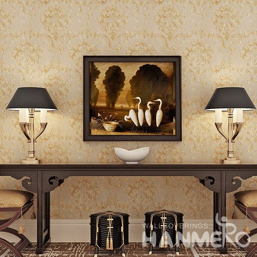 HANMERO European Golden Flower Vinyl Bedroom Wallpaper Embossed