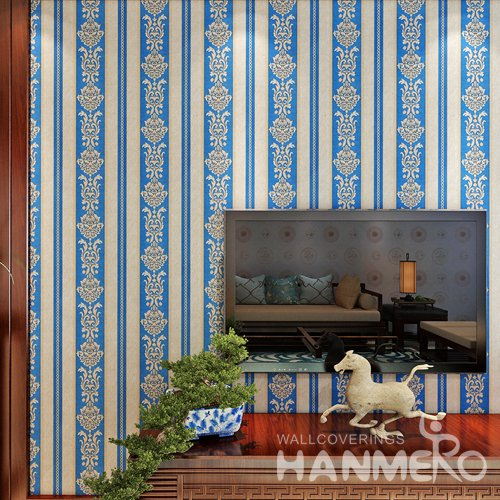 HANMERO PVC Embossed Stripe And Flower Royal Blue Bedding Room Wallpaper