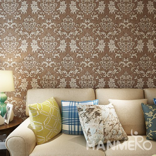 HANMERO PVC Chocolate Brown European Floral Embossed Wallpaper For Bedrooms