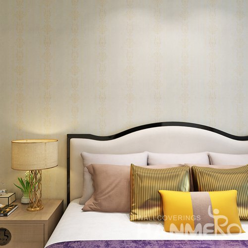HANMERO European Stripe Flower Champagne Gold Color Embossed Vinyl Wallpaper