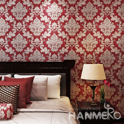 HANMERO Classic Wine Red Damask Embossed Wallpaper With PVC Material
