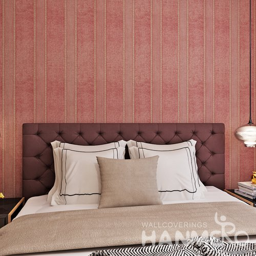 HANMERO PVC Wine Red Modern Stripes Embossed Wallpaper Roll