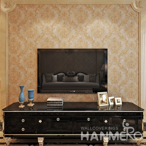 HANMERO Big Flowers Gold Brown European PVC Embossed Wallpaper For Room