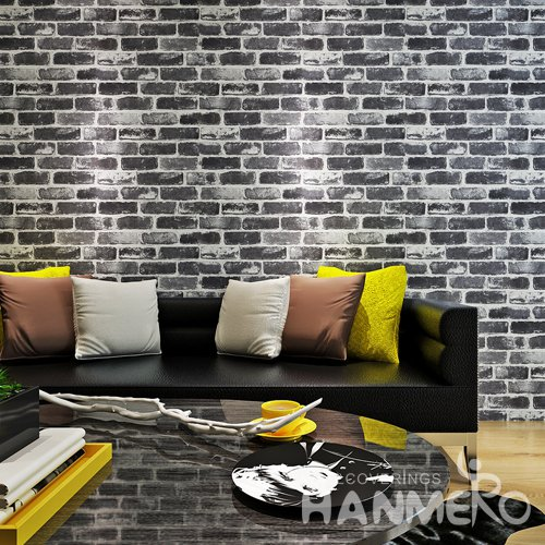HANMERO Retro 3D Black Brick Wallpaper With Vinyl Embossed For Home