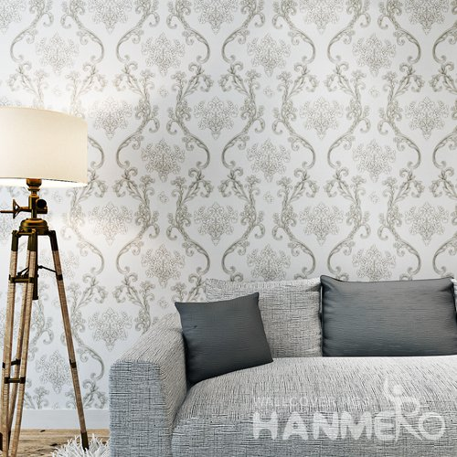 HANMERO Silver Black European PVC Embossed Floral Wallpaper For Bedding Room