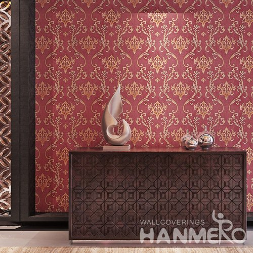 HANMERO Wine Red Cheap Vinyl European Wallpaper For Wall Decoration