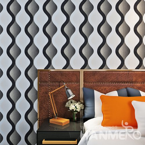 HANMERO Black And White Geometric Wave Pattern PVC Modern Wallpaper