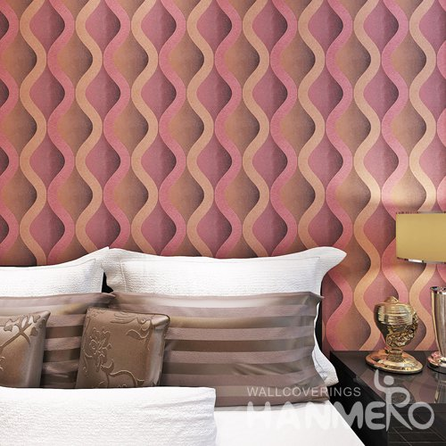 HANMERO Modern Red And Black Geometry Waves Vinyl Embossed Wallpaper
