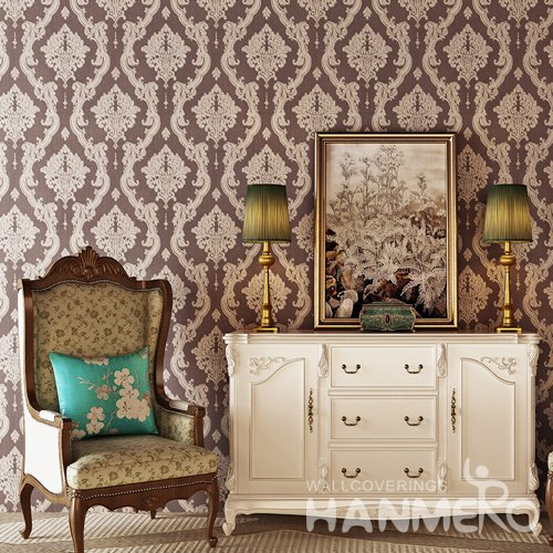 HANMERO Deep Brown European Floral PVC Bedding Room Embossed Wallpaper