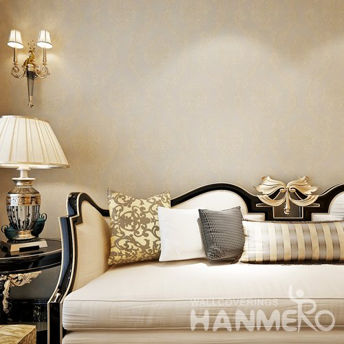 HANMERO Light Golden European Flowers Vinyl Embossed Wallpaper For Home