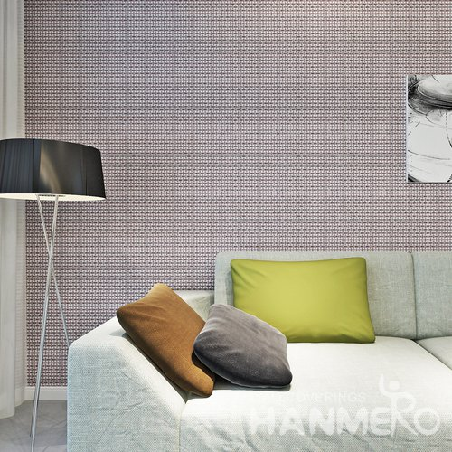 HANMERO Geometric Deep Brown Modern Durable PVC Bedroom Wallpaper